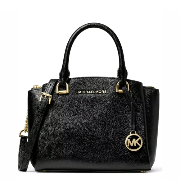 Michael Kors Handbags - Michael Kors Maxine Small Messenger Bag Black/Gold